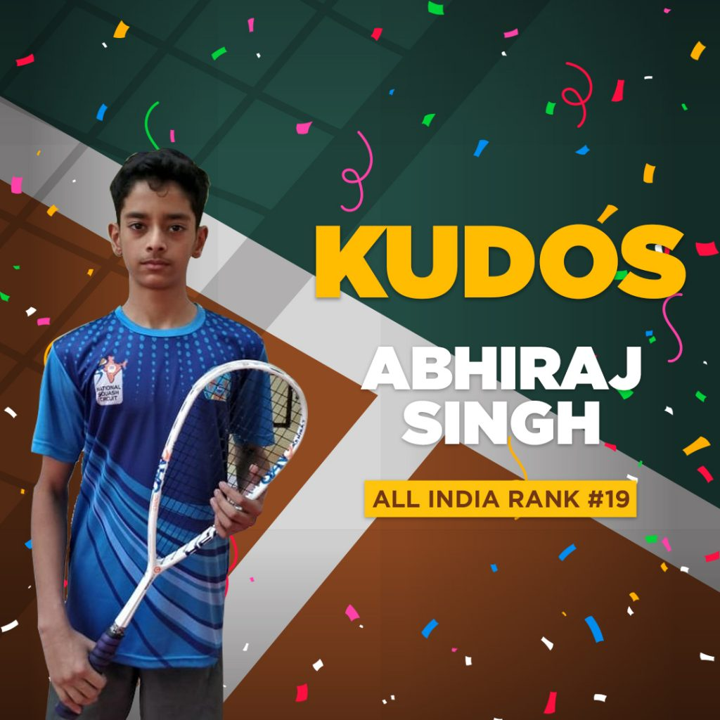 India Rank No.19 in the Sub Junior Squash